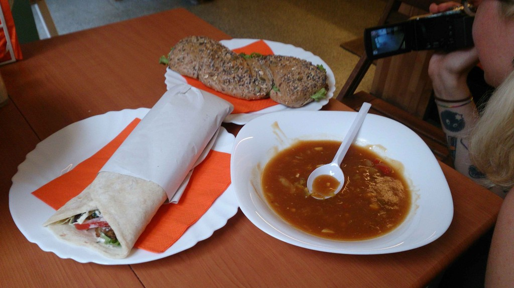 Food ordered at Bobencek: soup of the day, falafel wrap and avocado sandwich.