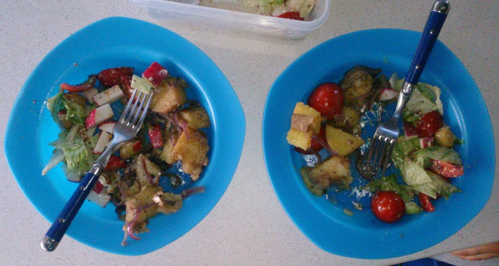 Today's meal: potato warm salad, lettuce radish cold salad