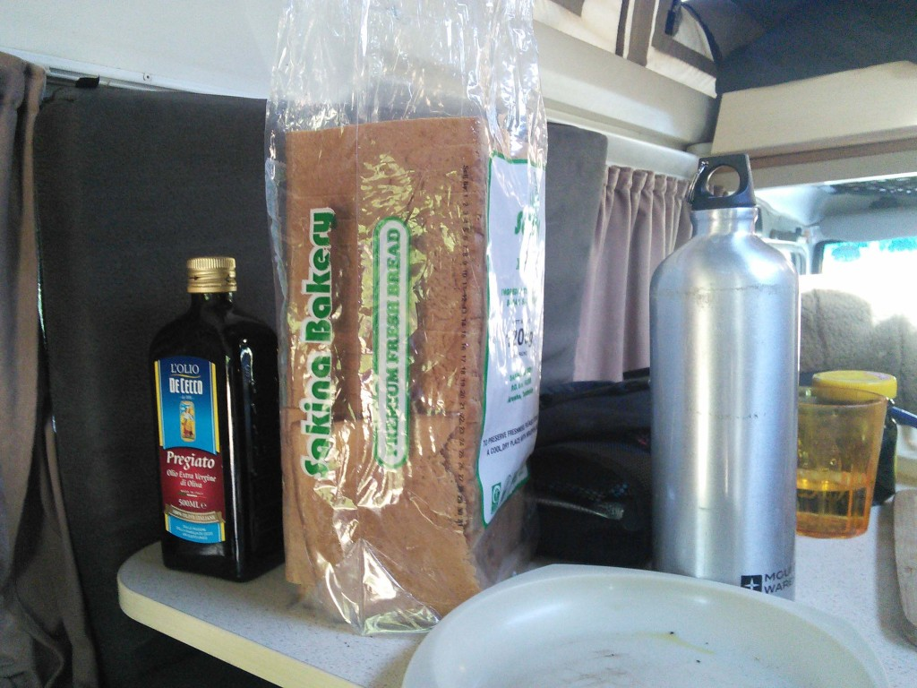 We found a giant loaf of stale bread, making olive oil toast out of it for breakfast