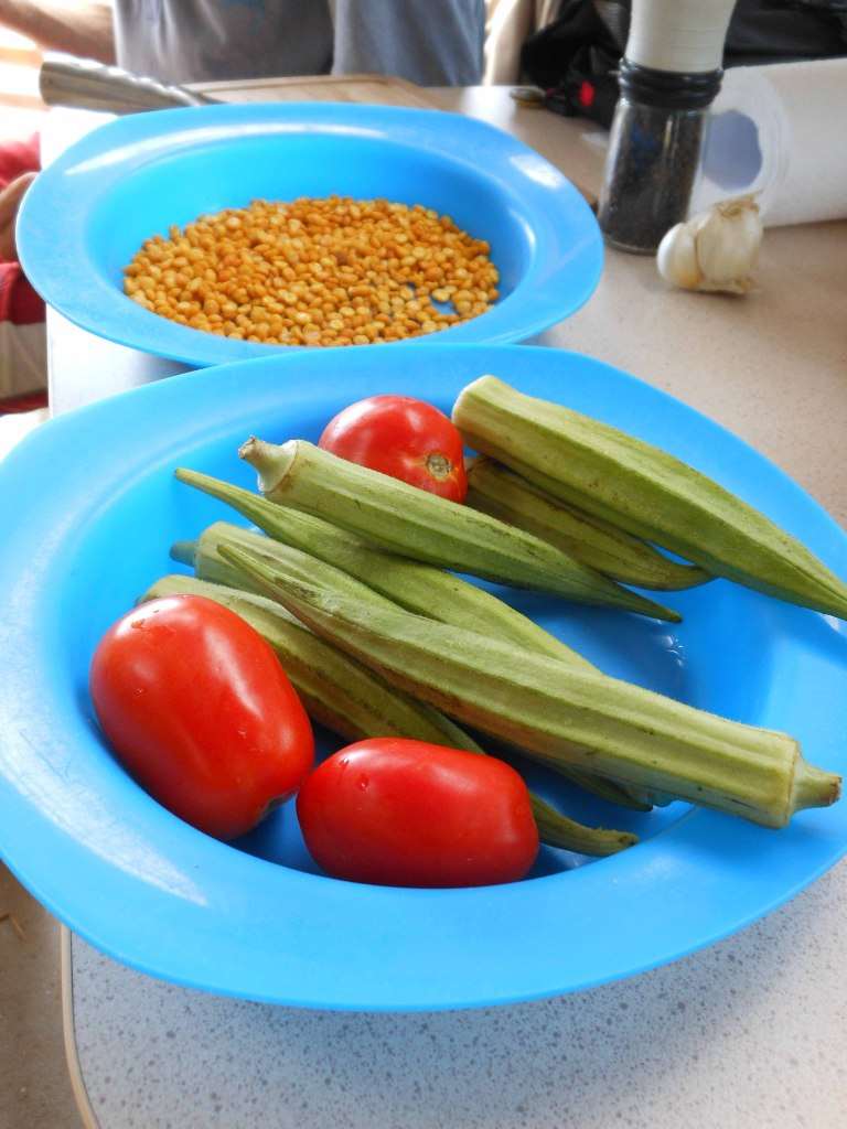 Giant okra, tomatoes and lovely Indian snacks