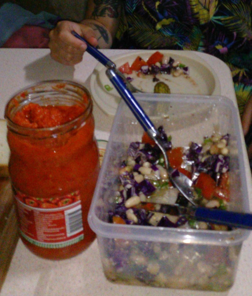 Ajvar, salad, bread