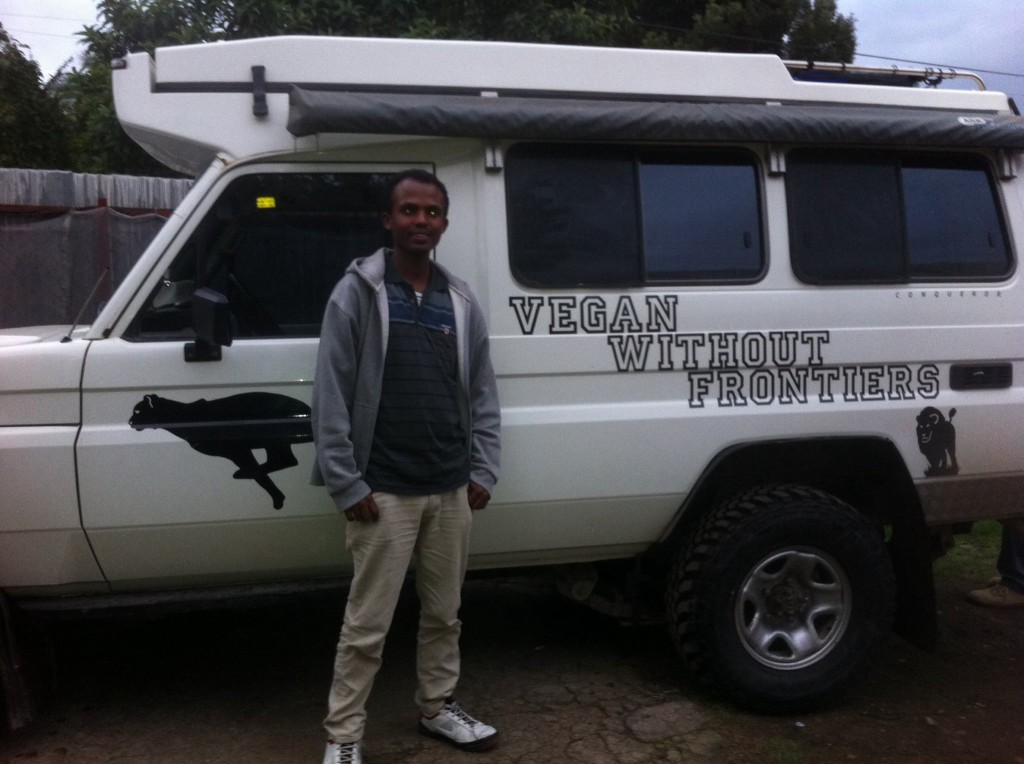 Mesfin next to Troopy!
