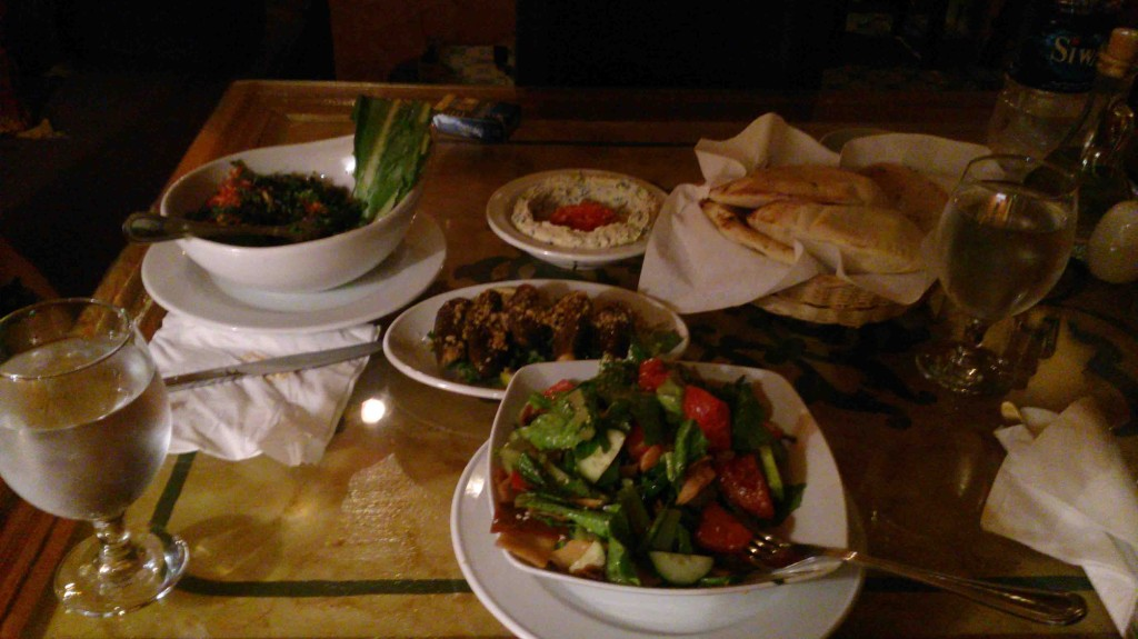Lebanese restaurant in Cairo Taboula, vegan meal